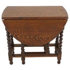 Antique Gateleg Table, Tiger Oak, Barley Twist, Drop Leaf Table, Scotland, 1920