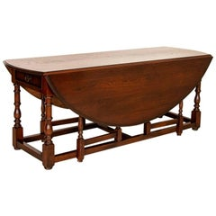 Antique Gateleg Wake Drop-Leaf Table with Drawers from England