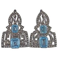 Antique Gemstone Marcasite Clip Set