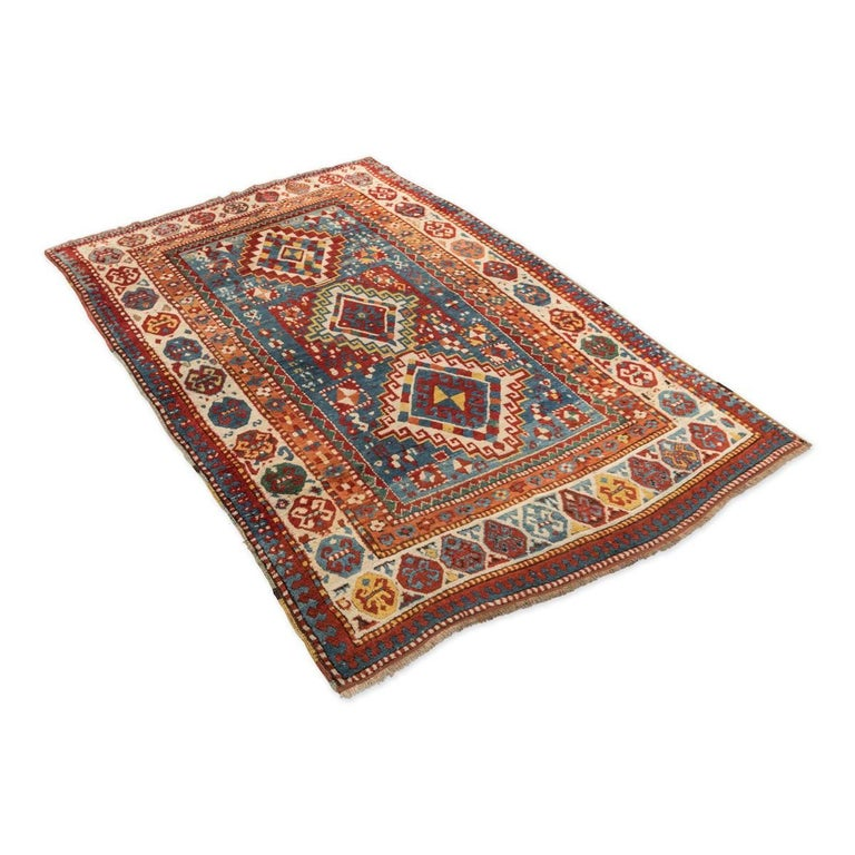 Russian Antique Gendge Rug of 1900, Made in Wool, Classic Geometrical Figures For Sale