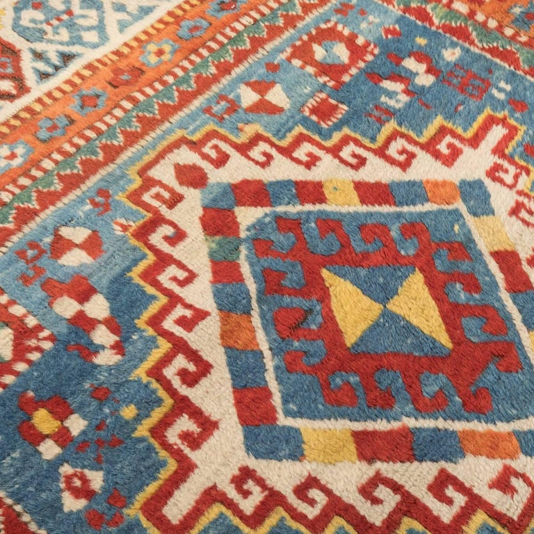 Early 20th Century Antique Gendge Rug of 1900, Made in Wool, Classic Geometrical Figures For Sale