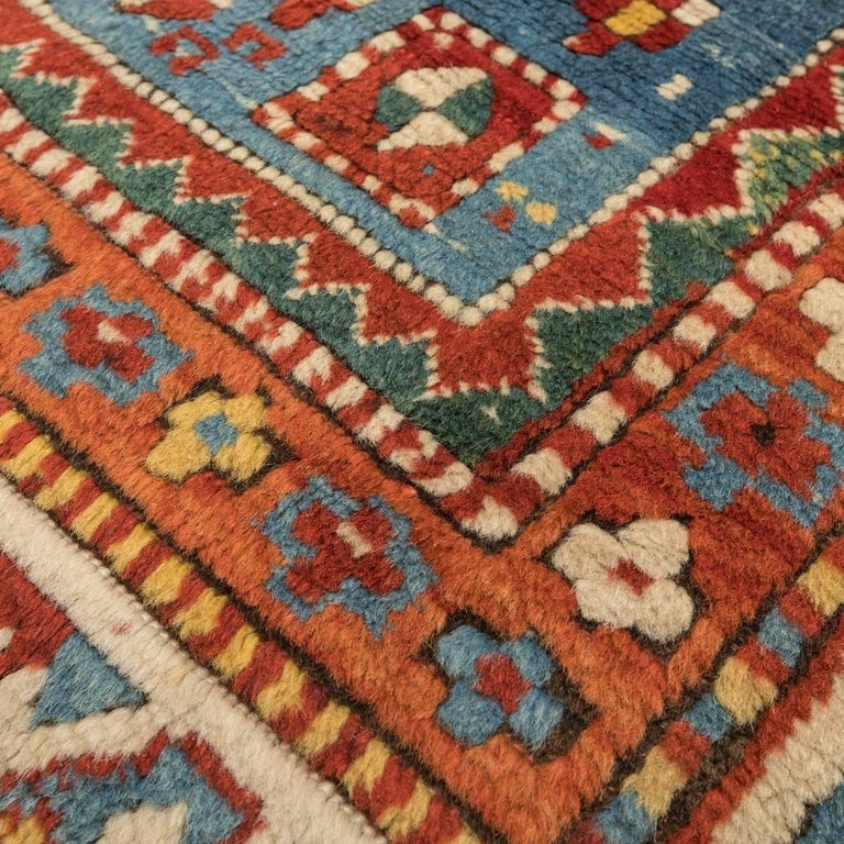 Antique Gendge Rug of 1900, Made in Wool, Classic Geometrical Figures For Sale 1