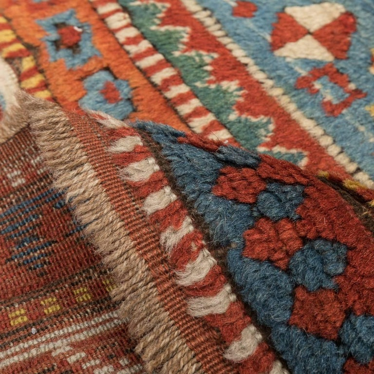 Antique Gendge Rug of 1900, Made in Wool, Classic Geometrical Figures For Sale 2