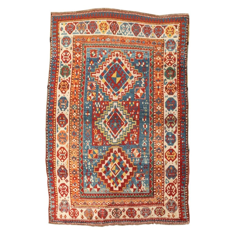 Antique Gendge Rug of 1900, Made in Wool, Classic Geometrical Figures For Sale