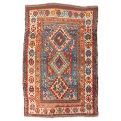 Antique Gendge Rug of 1900, Design Made in Wool with Classic Geometrical Figures