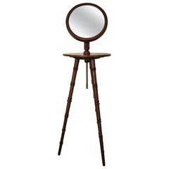 Antique Gentleman's Tripod Shaving Stand with Adjustable Height Mirror