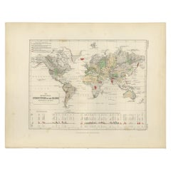 Antique Geological Map of the World by Johnston '1850'