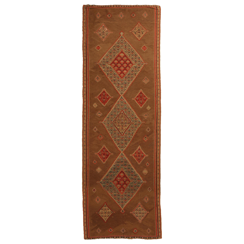 Antique Geometric Beige and Red Wool Persian Kilim-Senneh Runner