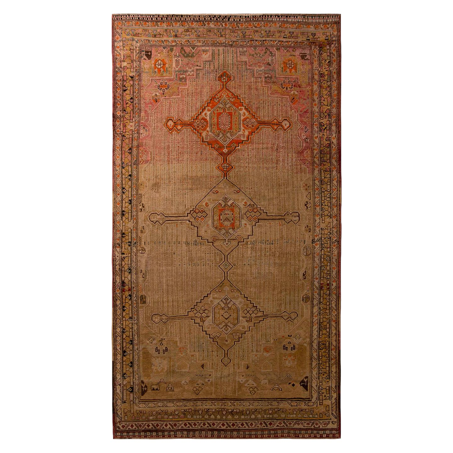 Antique Geometric Beige Pink and Red Wool Qashqai Persian Rug