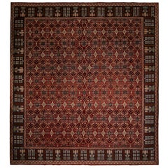 Antique Geometric Burgundy and Beige Wool Rug, Pink and Blue Accents