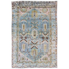 Antique Geometric Design Persian Malayer Rug in Light Blue, Pink, and Green