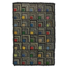 Antique Geometric Abstract Log Cabin Pattern Hooked Rug