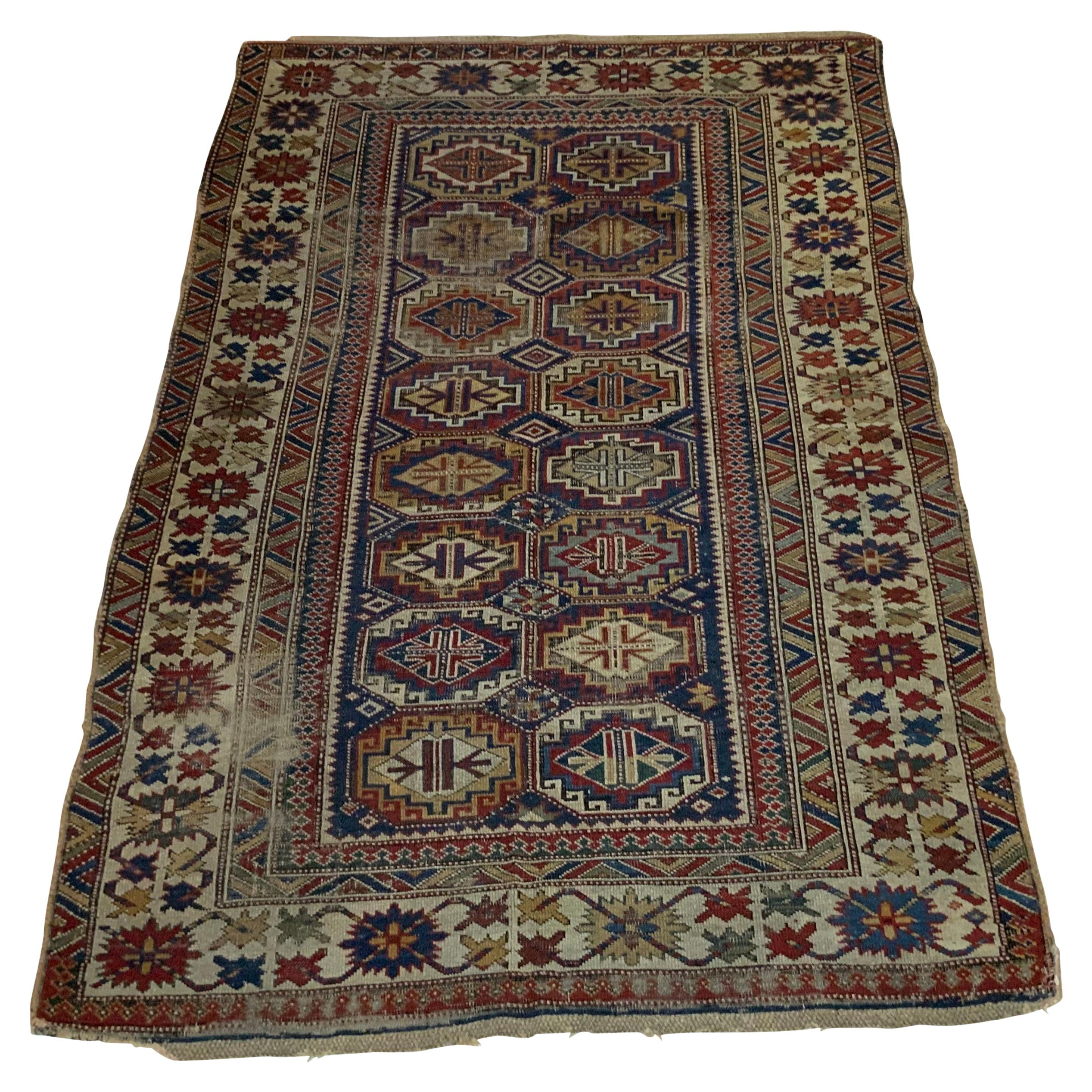 Antique Geometric Motifs Caucasian Shirvan Rug