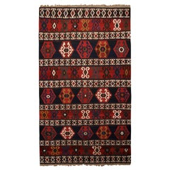 Antique Geometric Navy Blue and Burgundy Wool Kilim with White and Green Accents