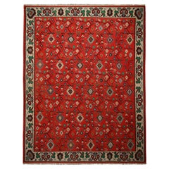 Antique Geometric Red and Beige Wool Kilim Rug