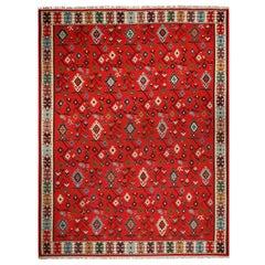 Antique Geometric Red and Beige Wool Kilim Rug