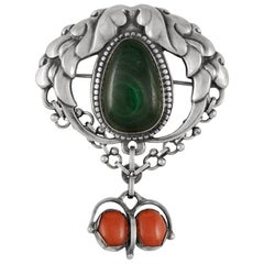 Antique Georg Jensen Drop Brooch 76 with Malachite and Coral