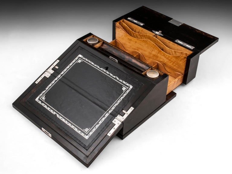 Antique George Betjemann Coromandel Satinwood Silver Writing Box, 19th Century For Sale 7