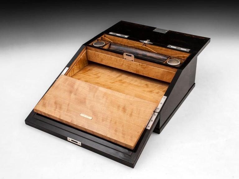 Antique George Betjemann Coromandel Satinwood Silver Writing Box, 19th Century For Sale 8