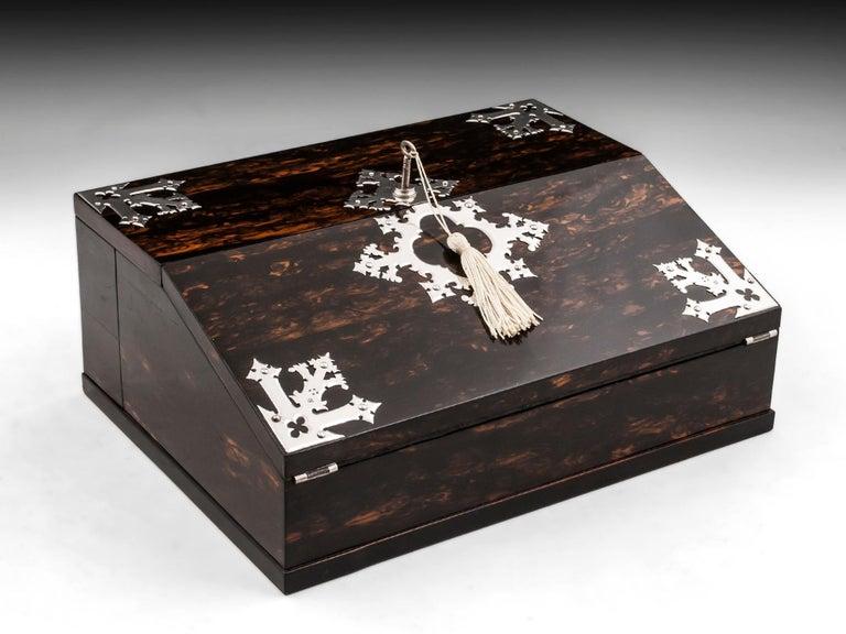 Antique George Betjemann Coromandel Satinwood Silver Writing Box, 19th Century For Sale 10