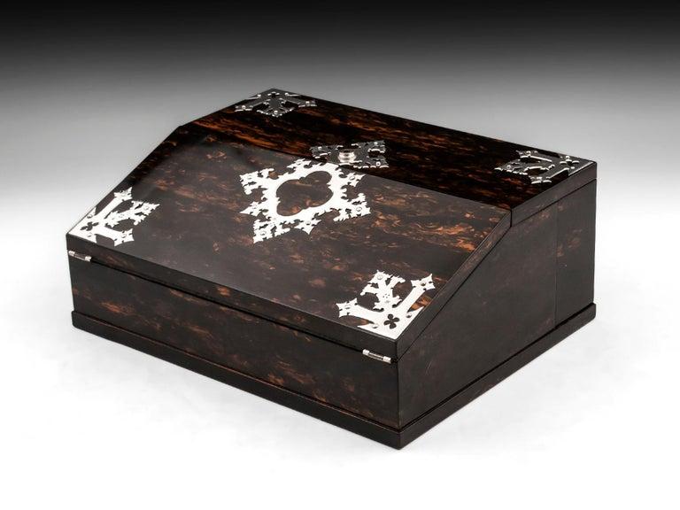 British Antique George Betjemann Coromandel Satinwood Silver Writing Box, 19th Century For Sale