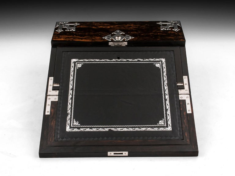 Sterling Silver Antique George Betjemann Coromandel Satinwood Silver Writing Box, 19th Century For Sale
