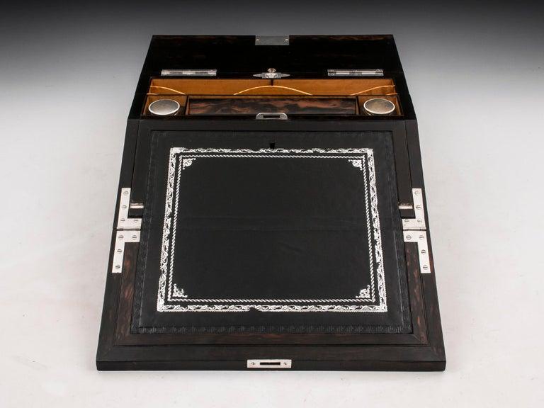 Antique George Betjemann Coromandel Satinwood Silver Writing Box, 19th Century For Sale 1
