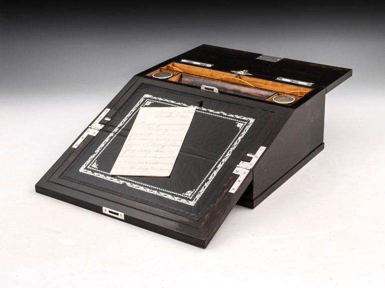Antique George Betjemann Coromandel Satinwood Silver Writing Box, 19th Century For Sale 2