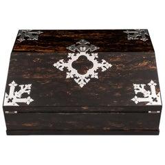 Antique George Betjemann Coromandel Satinwood Silver Writing Box, 19th Century