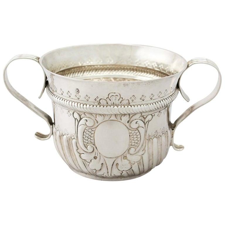 Antique George I 1717 Britannia Standard Silver Porringer For Sale