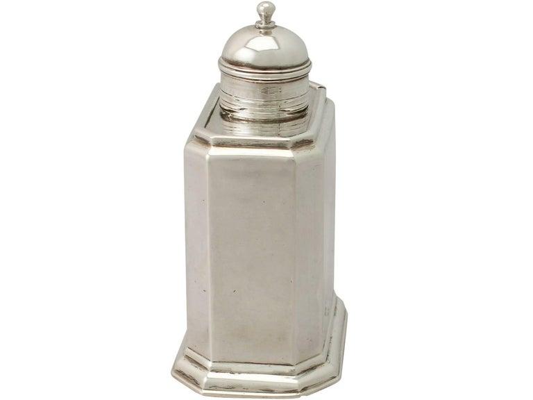 English Antique George I Britannia Standard Silver Tea Caddy For Sale