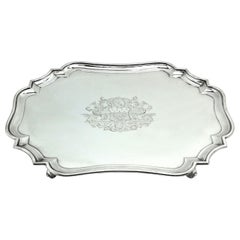 Antique George I Georgian Sterling Silver Salver / Tray / Platter 1726 18th C