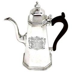 Antique George I Solid Silver Coffee Pot 1719 Octagonal 18th Century Britannia