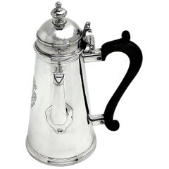 Antique George I Sterling Silver Coffee Pot Side Handled 1716 Early Georgian