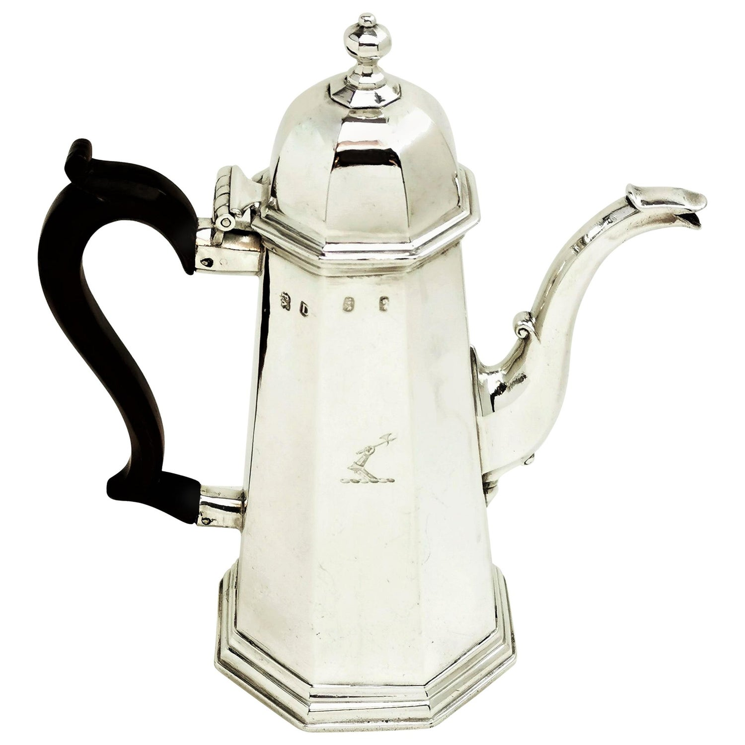 Antique George I Sterling Silver Octaginal Coffee Pot, 1719