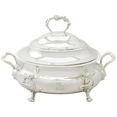 Antique George II 1800s English Sterling Silver Soup Tureen