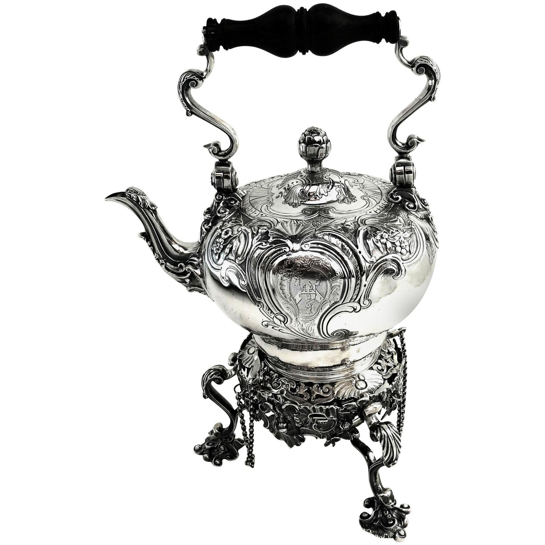 Antique George II Georgian Silver Kettle on Stand London 1745 Teapot