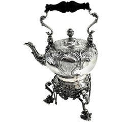 Antique George II Georgian Silver Kettle on Stand London 1745 Teapot