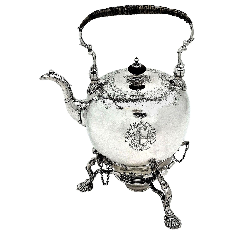 Antique George II Georgian Sterling Silver Kettle on Stand, 1734 Tea Pot