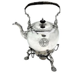 Antique George II Georgian Sterling Silver Kettle on Stand, 1734 Tea Pot