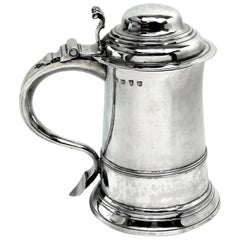 Antique George II Georgian Sterling Silver Lidded Tankard / Beer Mug 1758