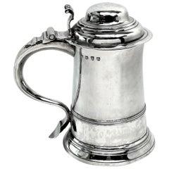 Antique George II Georgian Sterling Silver Lidded Tankard / Beer Mug 1758