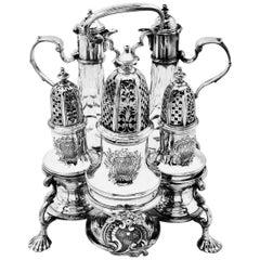 George II Sterling Silver and Cut Glass Warwick Cruet Stand Condiment Set 1741