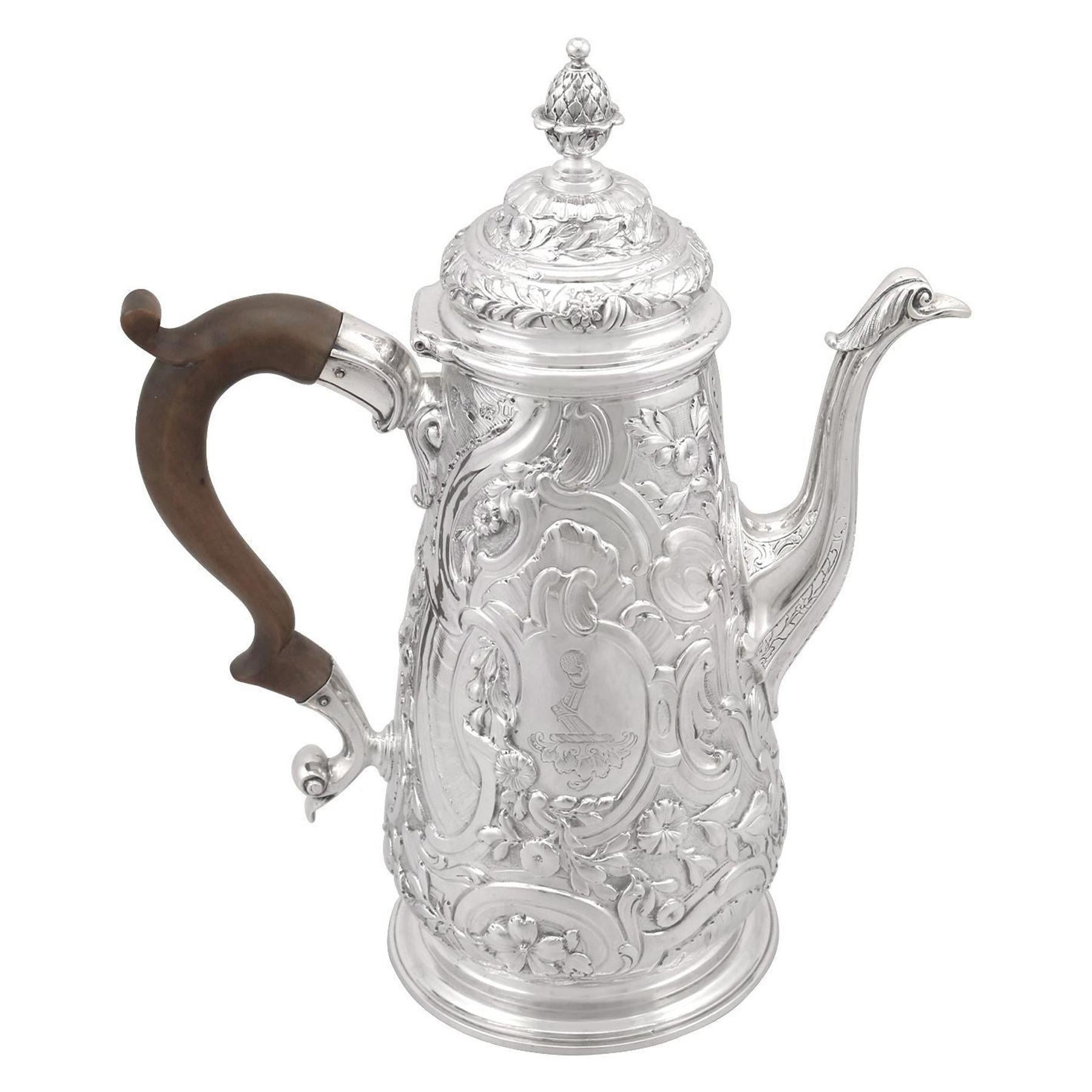 Antique George II Sterling Silver Coffee Pot - 1748