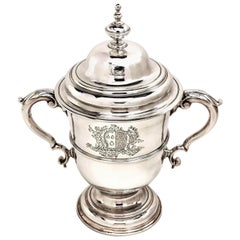 Antique George II Sterling Silver Two Handled Cup & Cover / Lidded Trophy, 1754