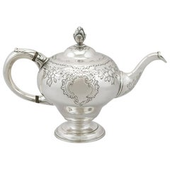 Antique George III 1770s Scottish Sterling Silver Teapot