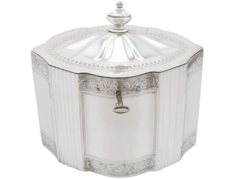 An exceptional, fine and impressive antique Georgian English sterling silver locking tea caddy; an addition to our silver teaware collection.