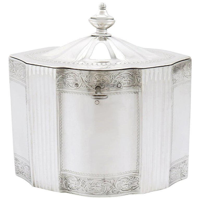 Antique George III 1790s Sterling Silver Locking Tea Caddy For Sale
