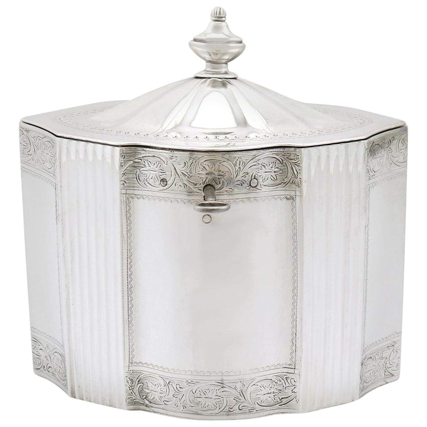 Antique George III 1790s Sterling Silver Locking Tea Caddy