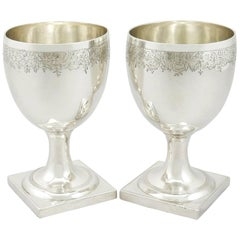 Antique George III 1800s Pair of Sterling Silver Goblets